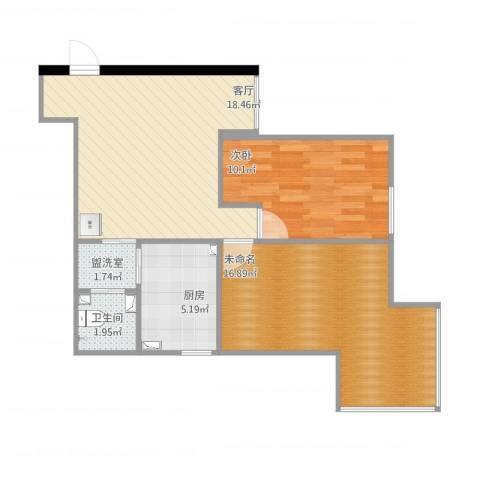 培新街乙5号院1室2厅1卫1厨75.00㎡户型图