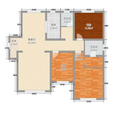 中海八里�3室1厅2卫1厨143.00㎡户型图