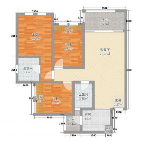 英郦庄园曼城3室1厅2卫1厨99.00㎡户型图