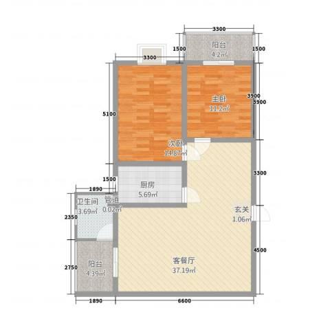 盛景华都2室1厅1卫1厨81.26㎡户型图