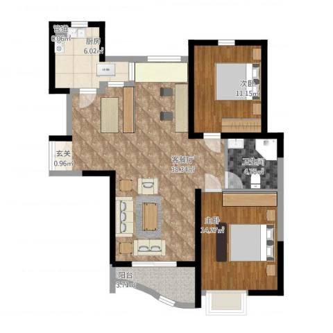 郦城国际2室1厅1卫1厨111.00㎡户型图