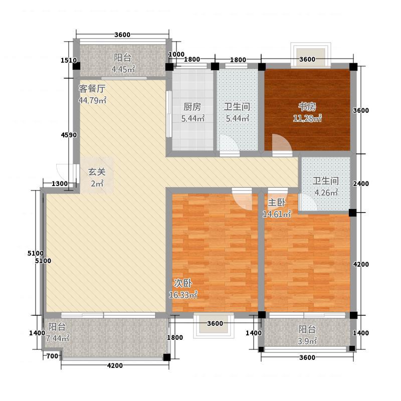 越秀花园户型3室2厅2卫1厨