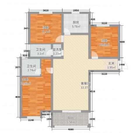 锦绣江南3室2厅2卫1厨128.00㎡户型图