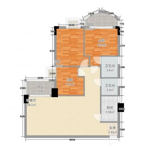君怡大厦3室1厅2卫1厨121.00㎡户型图