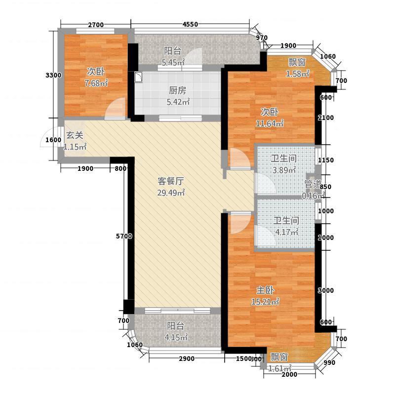 怡和嘉园二期113.20㎡福鼎碧桂园J475-C户型3室2厅2卫1厨