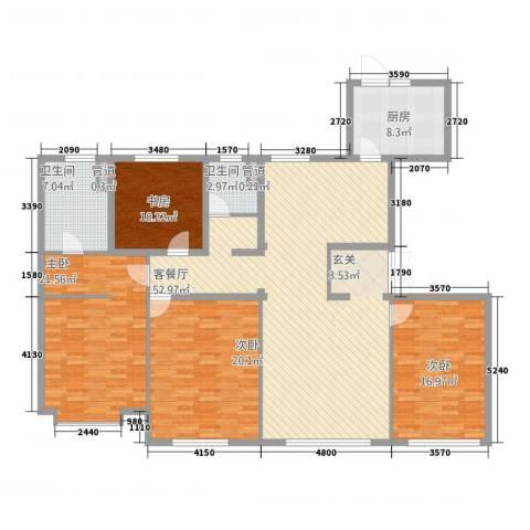 中海八里�4室1厅2卫1厨196.00㎡户型图