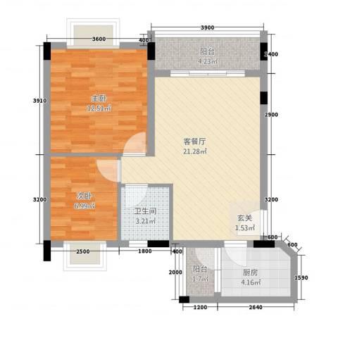 富汇豪庭2室1厅1卫1厨78.00㎡户型图