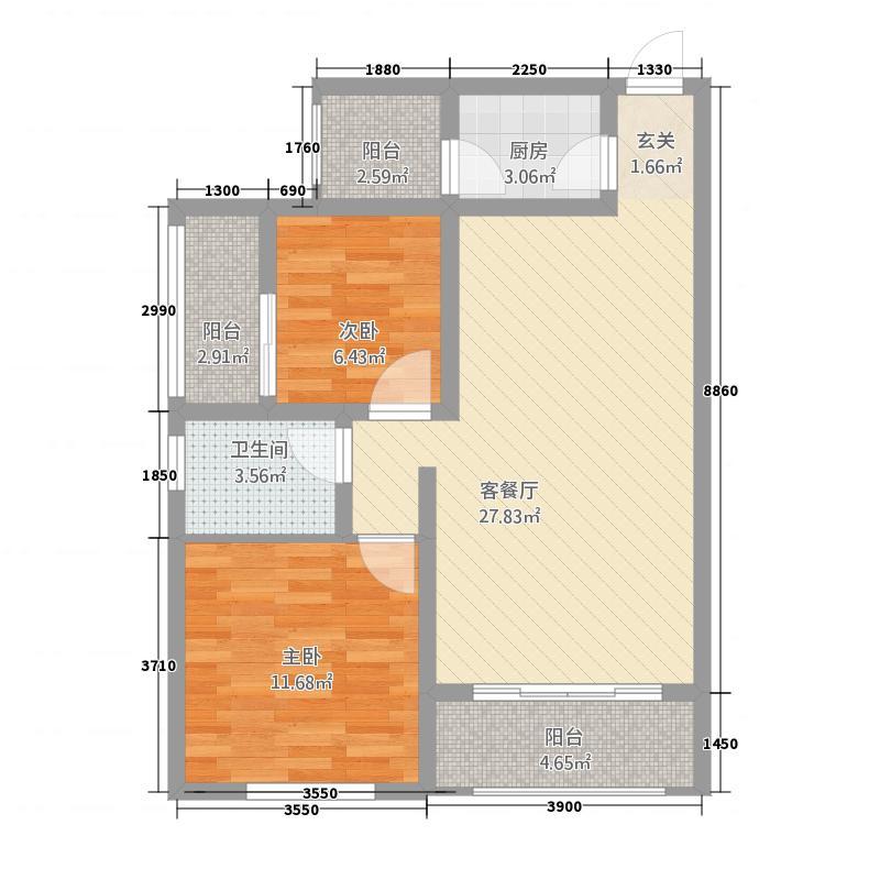 中泉・国际广场81.10㎡D户型3室2厅2卫1厨