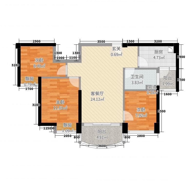 怡和嘉园二期福鼎碧桂园J582-B户型3室2厅1卫1厨