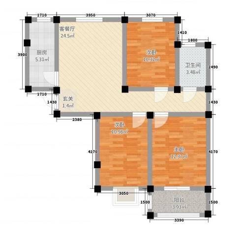龙悦湾3室1厅1卫1厨70.89㎡户型图
