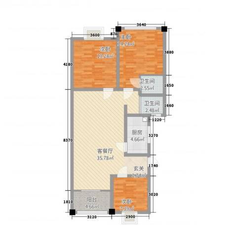 香江名城3室1厅2卫1厨318.00㎡户型图