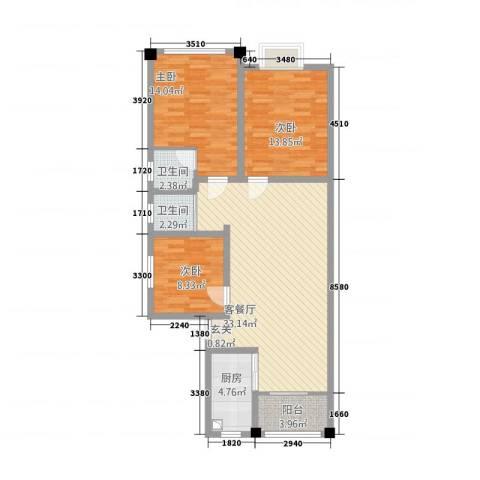 香江名城3室1厅2卫1厨82.75㎡户型图