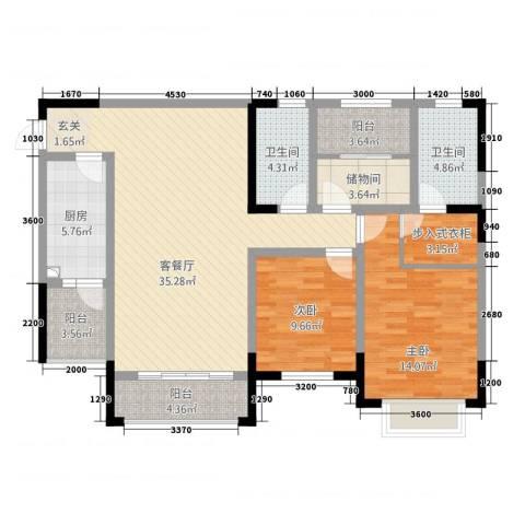 世通和府2室1厅2卫1厨92.29㎡户型图