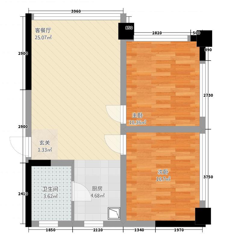 水晶石国际公寓63.00㎡户型2室