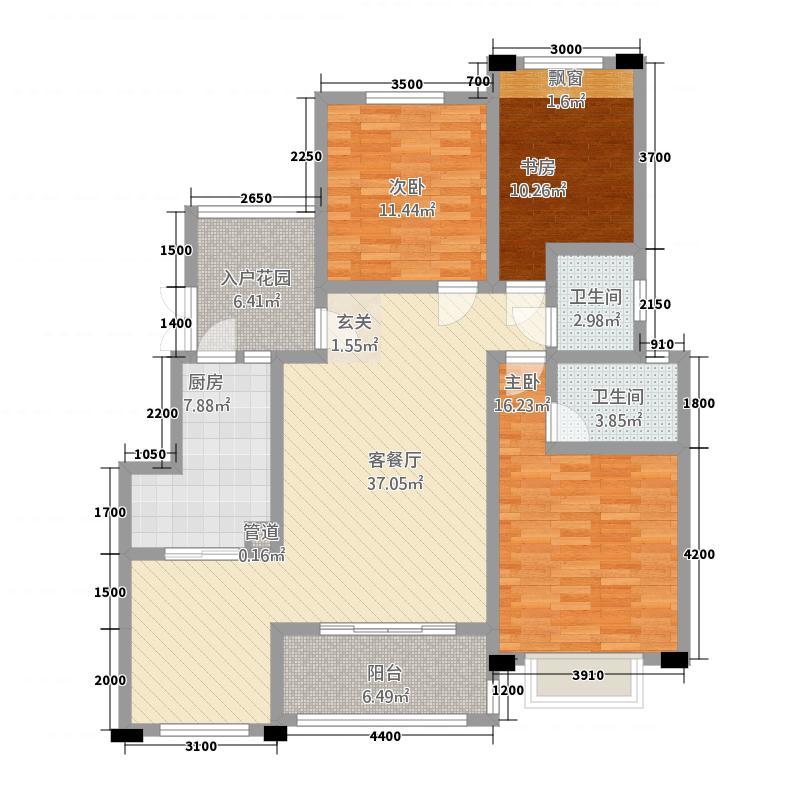 中国草海国际养生基地127.20㎡洋房11号楼户型3室2厅2卫1厨