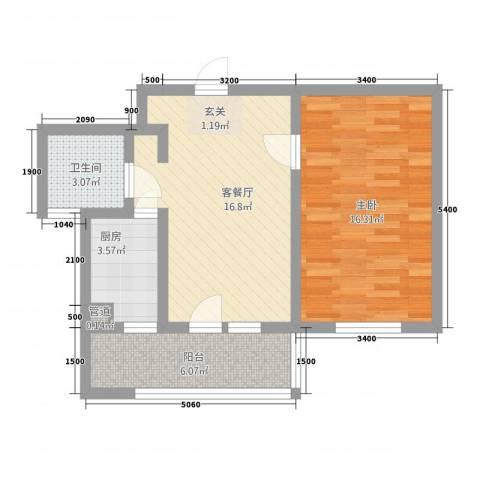 朗诗.绿色街区1室1厅1卫1厨68.00㎡户型图