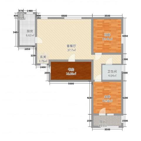 朗诗.绿色街区3室1厅1卫1厨127.00㎡户型图