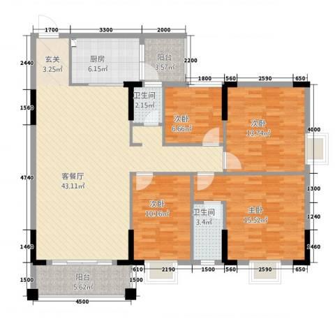 振声・幸福家园4室1厅2卫1厨154.00㎡户型图