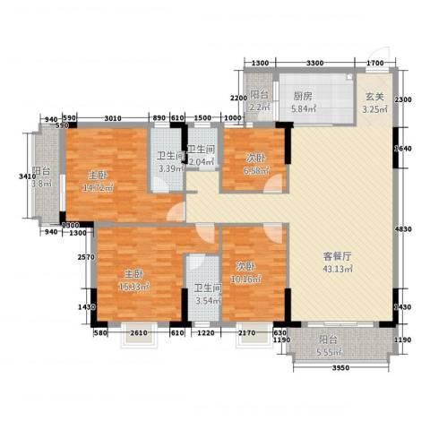 振声・幸福家园4室1厅3卫1厨164.00㎡户型图