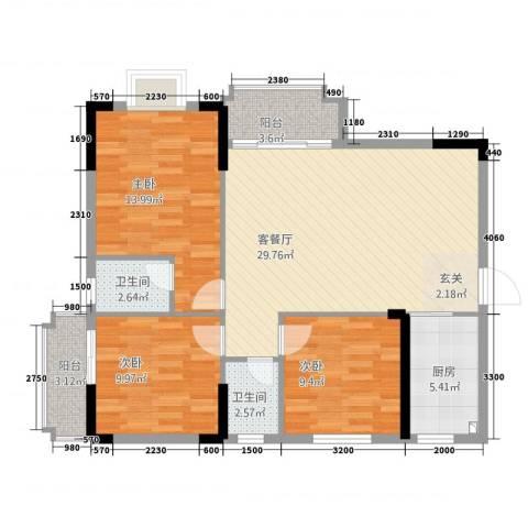 振声・幸福家园3室1厅2卫1厨113.00㎡户型图