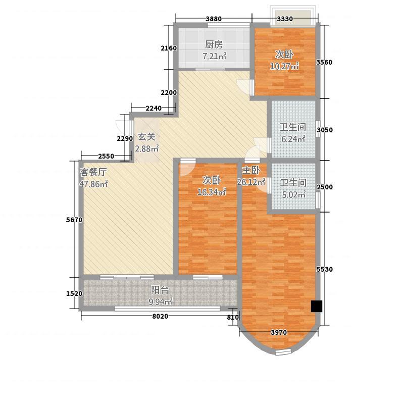 天同专家公寓户型3室2厅1卫1厨
