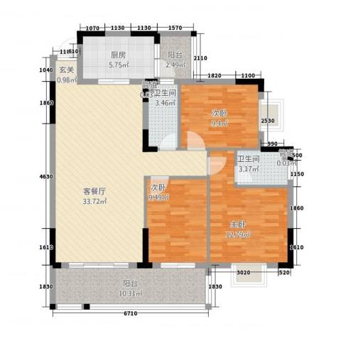 朗晴轩3室1厅2卫1厨90.65㎡户型图