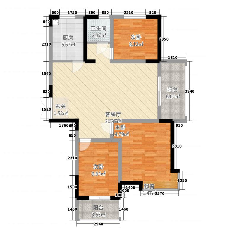 华锦・翡翠城116.00㎡C户型3室2厅1卫1厨