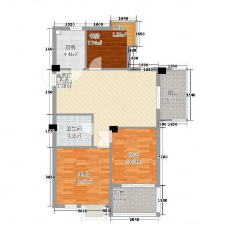 侨康苑3室1厅1卫1厨72.29㎡户型图