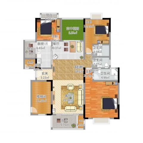 星湖尚景苑3室1厅3卫1厨202.00㎡户型图