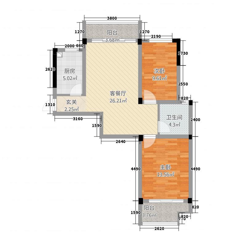 永佳福邸西苑87.00㎡E户型2室2厅1卫1厨