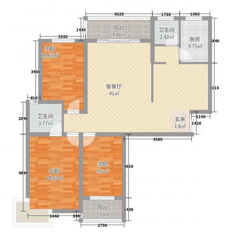 云海华城3136.12㎡户型3室2厅2卫