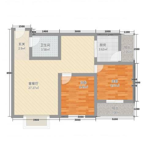 鹏发翡翠园2室1厅1卫1厨56.35㎡户型图