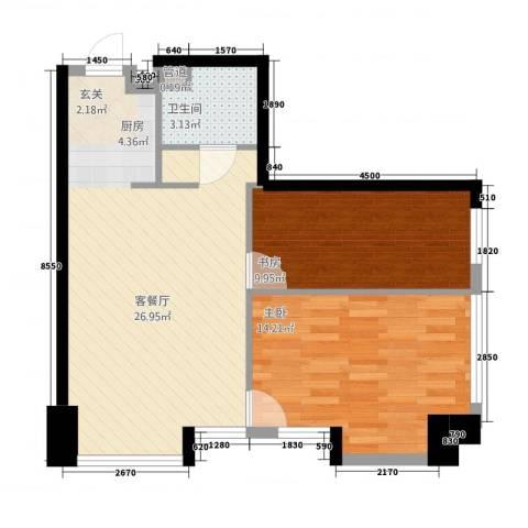 凯铂精品酒店2室1厅1卫0厨61.00㎡户型图