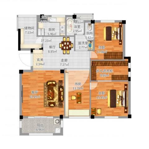 天怡嘉苑3室2厅2卫1厨168.00㎡户型图