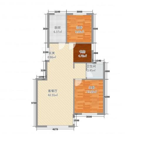 绿城苑2室1厅1卫1厨103.00㎡户型图