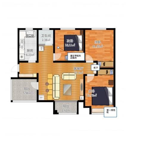 月珑湾3室1厅1卫1厨110.00㎡户型图