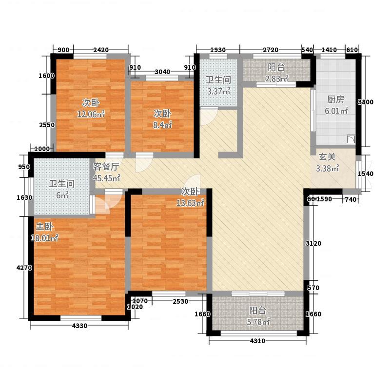 建业壹号城邦175.00㎡6#/7#F/A户型4室2厅2卫1厨