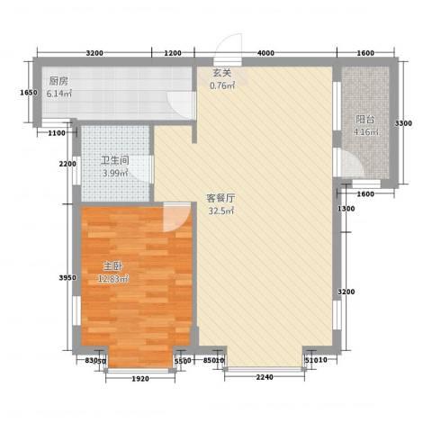 绿城苑1室1厅1卫1厨83.00㎡户型图