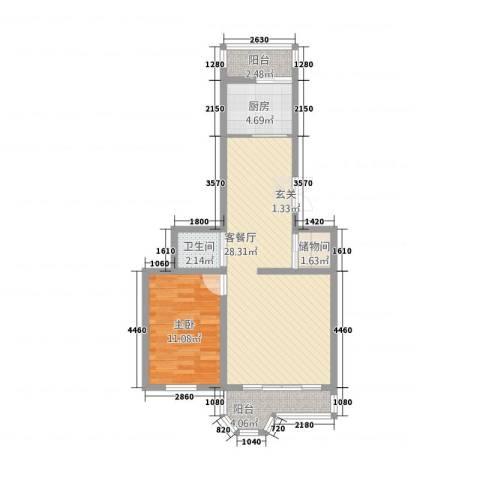 郁金花园1室1厅1卫1厨81.00㎡户型图