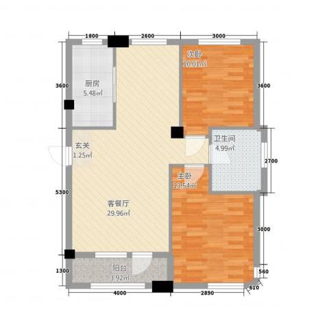 绿城苑2室1厅1卫1厨95.00㎡户型图