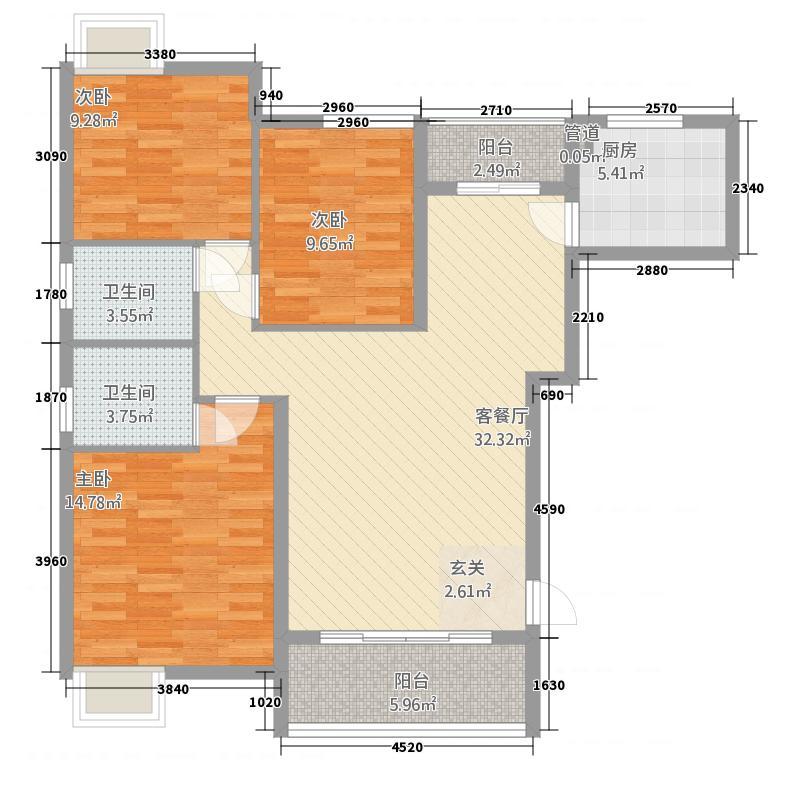 学府街坊214122.33㎡QQ图片户型3室2厅2卫1厨