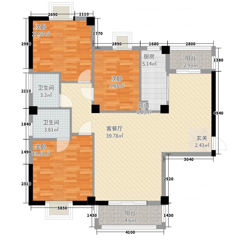 兴港花园11.00㎡户型3室