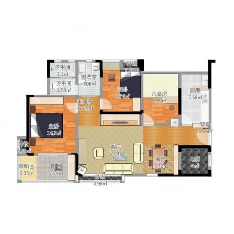 英祥春天广场3室1厅2卫1厨144.00㎡户型图