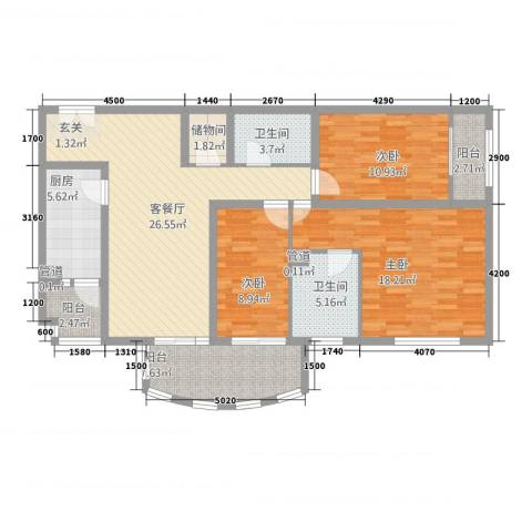 山西宏安国际大厦3室1厅2卫1厨136.00㎡户型图