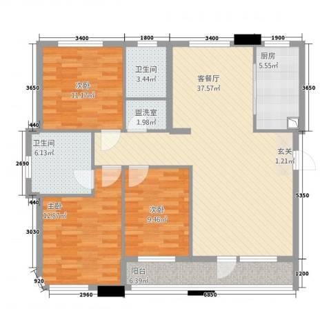 绿城苑3室2厅2卫1厨133.00㎡户型图