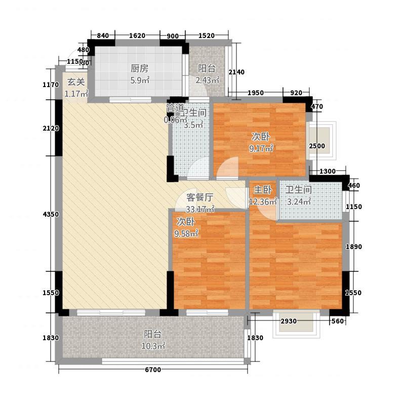 朗晴轩主力户型1 3室2厅2卫1厨 98.00㎡