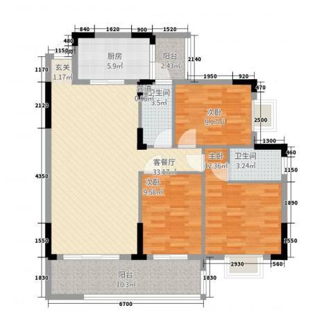 朗晴轩3室1厅2卫1厨98.00㎡户型图