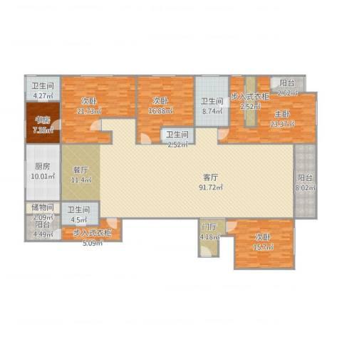 万科珠宾花园—1栋18015室1厅4卫1厨315.00㎡户型图