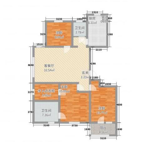 朗诗.绿色街区3室1厅2卫1厨142.00㎡户型图