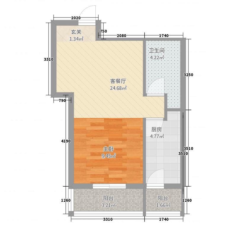 金域名邸55.00㎡金域名邸户型图G2户型1室1厅1卫1厨户型1室1厅1卫1厨